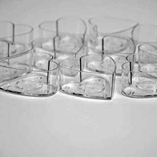 25 Pcs Plastic Clear Heart Tealight Cups Holders with 25 Pcs Candle Wicks(1 inch) for DIY Candle Making- Urban Decor(25 pc)