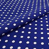 Hans-Textil-Shop Stoff Meterware Punkte 7 mm (Blau auf