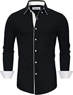 TAM WARE Men`s Classic Slim Fit Contrast Inner Long Sleeve Dress Shirts
