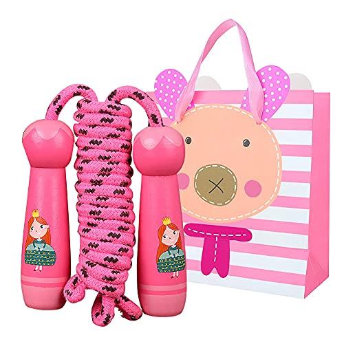 Springseil Kinder, Verstellbare Springenseil Kinder mit Cartoon Holzgriff, Kinder Springseil mit Geschenktüte, Speed Rope für Jungen und Mädchen 6 8 10 Jahre , Fitness Spiel, Sport Training (Pink)