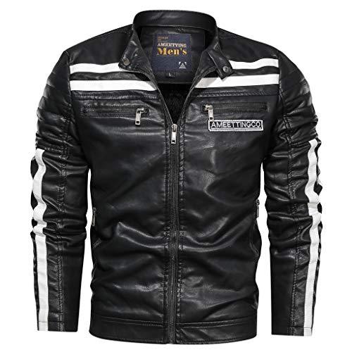 FRAUIT Heren opstaande kraag kunstleer bomberjack vintage strepen lederen jas bikerjack ritssluiting losse mantel racer outwear mode prachtig design kleding top coat
