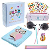 Brightzen Cute Owl Stationery Set – Owl Fur Notebook, Pencil Case, Pom Pens, Pastel Pencils, Eraser and Stickers with Gift Box, for girls boys age 4 5 6 7 8 9 10 11