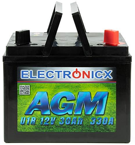 Electronicx 30Ah AGM Batterie Rasentraktor Aufsitzmäher Batterie Starterbatterie 12V Akku Batterie 12v 30ah Rasentraktor Rasenmäher wie Gel Batterie