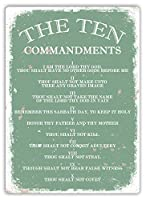 BALTER The Ten Commandments GREEN ティンサインアンティークプラークヴィンテージアルミニウム壁の装飾 Tin Sign Antique Plaque Vintage Aluminum for Wall Decor 8x12 Inch