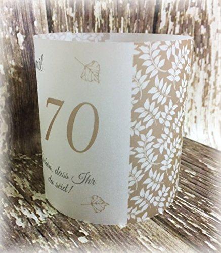 4er Set Tischlicht Tischlichter Blätter runder Geburtstag 40 50 60 70 80 90 Tischdeko personalisierbar taupe stein hellbraun