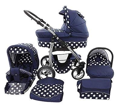 Cochecito de bebe 3 en 1 2 en 1 Trio Isofix silla de paseo D-Deluxe by SaintBaby azul oscuro & puntos blancos 4in1 con Isofix + Silla