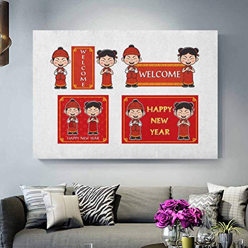 ScottDecor Chinese New Year Wall Art Happy Wishes and Greeting with Little Boys Girls Joyful Lunar Festival Couples Gifts for Christmas Multicolor L12 x H18 Inch