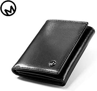 3 Bends Leather Wallets For Men - OM 2019 New Design For Minimalism Including RFID Anti-Theft Brush Function, Fashion Handmade Design,Premium Leathe (Matte black)