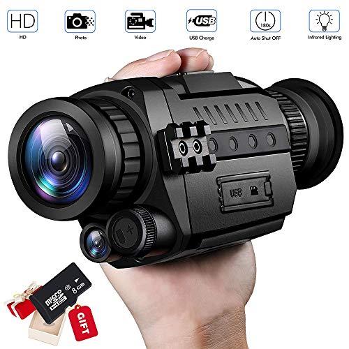 """Digitales Nachtsichtgerät Monokular Nachtsicht Infrarot Fernglas mit 200 m Erkennungsweite 1.5\"""" LCD Bildschirm 5X Vergrößerung IR Kamera für Aufnahmen Bilder/Videos mit 8G Speicherkarte,Schwarz"""