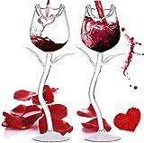 Copa de Vino Tinto Personalizada Forma Creativa de Rosa, Copas de Vino Blanco Elegantes y Simples para el Hogar, la Fiesta, la Idea de Regalo (2Pcs)