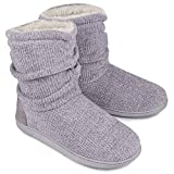 Ladies Bootie Slippers Memory Foam Fur Collar Bootee Plush Lined Women Boots