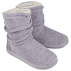 LongBay Ladies' Chenille Knit Bootie Slippers
