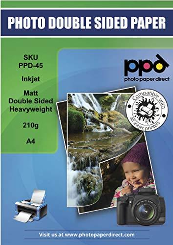 PPD Inkjet 210 g/m2 Schweres Fotopapier Beidseitig Matt Beschichtet Hochauflösend - ideal auch als hochwertiges Broschürenpapier und Flyerpapier - DIN A4 x 20 Blatt PPD045-20
