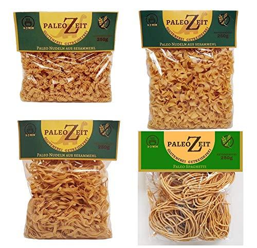 4x 250g Paleo Nudeln Glutenfrei Getreidefrei Weizenfrei PaleoZeit Pasta bestehend aus: 4x Nudeln mit Sesammehl