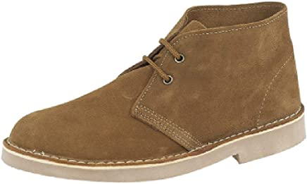 Real Suede Desert Boots Men's & Boys Classic 2 Eyelet, Sizes 7-12. 4 Colourways, Black, Sand, Brown, Blue : boots