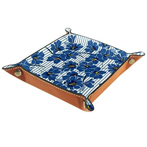 Bandeja de Cuero - Organizador - Flores Romántico Rayas Azul - Práctica Caja de Almacenamiento para Carteras,Relojes,llaves,Monedas,Teléfonos Celulares y Equipos de Oficina