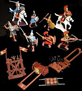 NewBrand Bmc223a Greeks 8 Figures in 8 Poses W/2 Horses and Accessories (Painted) (60mm) Toy Soldiers War Combat Toy Model Plastic Military