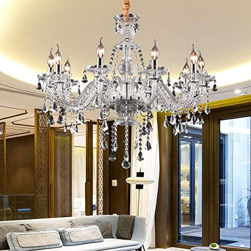 Ridgeyard Clear K9 Crystal 10 Lights Modern Luxurious Chandelier Candle Pendant Lamp Ceiling Living Room Lighting for Dining Living Room Bedroom Hallway Entry 25.6 x 35.4 Inch Gifts Idea (Transparent)