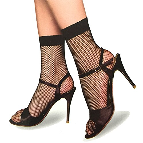 lau-fashion 3 Paar Damen Netz Strümpfe Socken Schwarz Perlon Füsslinge Gothic Gogo S/M/L/XL