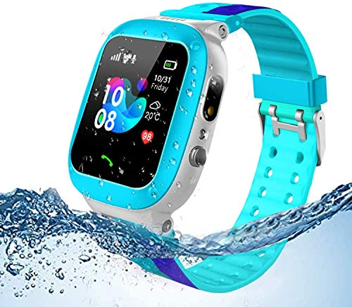 Jsbaby Kids smartwatch Waterproof for Children with SOS Two Ways Calls Girls and Boys Birthday Gift (Blue)