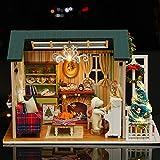 Decdeal DIY Puppenhaus 3D Holz Miniaturhaus Kit mit LED Licht Kunsthandwerk Geschenk für Valentinstag, Kindertag, Weihnachten, Hochzeit, Geburtstag - 9