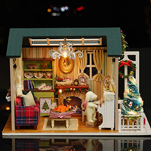 Bedler DIY Weihnachten Miniatur Puppenhaus Kit Realistische Mini 3D Holzhaus Zimmer Handwerk mit Möbel LED-Leuchten Kindertag Geburtstagsgeschenk Weihnachtsdekoration puppenhaus Holz