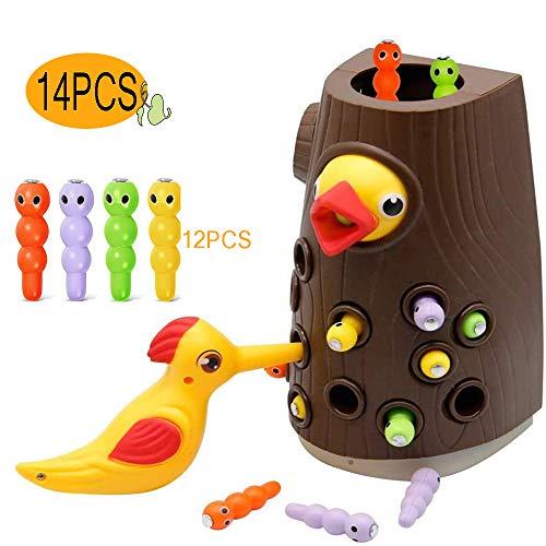 OMZGXGOD Specht Spielzeug, Magnetischer Specht Raupen Fangen Spiel Montessori Spielzeug, Lernspielzeug für Jungen und Mädchen 2 3 4 Jahre Alt, Specht Fangen und Füttern