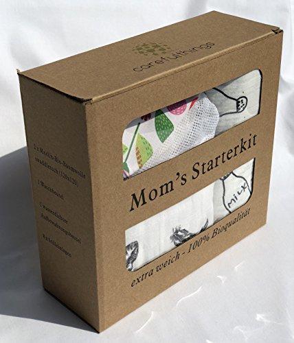Stoffwindeln und Stilleinlagen Set, Pucktücher, Spucktücher, Geschenk zur Geburt mit 2 Musselin Bio Baumwollwindeln (120x120) und 4er Set Bio Stilleinlagen mit Aufbewahrungstasche und Waschnetz