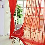 Gasa Ventana Cortina, Colores Vivos Ultra Sheer Cortinas - Transparente Dormitorio Cortina - Fino Cenefas Bufanda - Casa Habitación Decoración - Rojo, 2pcs