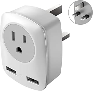 UK Power Adapter, UK Adapters for Travel,US to UK Adapter with 2 USB,3 in 1 UK Travel Adapter, for USA to UK(England,Scotland),Ireland,Hong Kong,etc.Ultra Compact (Type G))