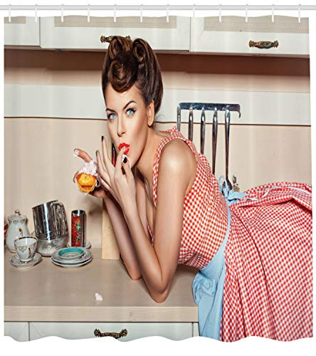 ABAKUHAUS Pin up Girl Duschvorhang, Mädchen isst einen Kuchen, mit 12 Ringe Set Wasserdicht Stielvoll Modern Farbfest & Schimmel Resistent, 175x180 cm, Mehrfarbig
