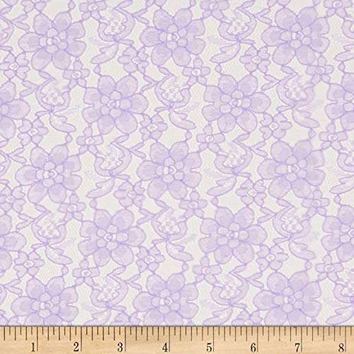 Ben Textiles Raschelle Lace Fabric, Lavender, Fabric by the yard