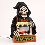 Gerson 20 inches Halloween and Skull, Electric Lighted Magnesium Ghost with Moving Fire