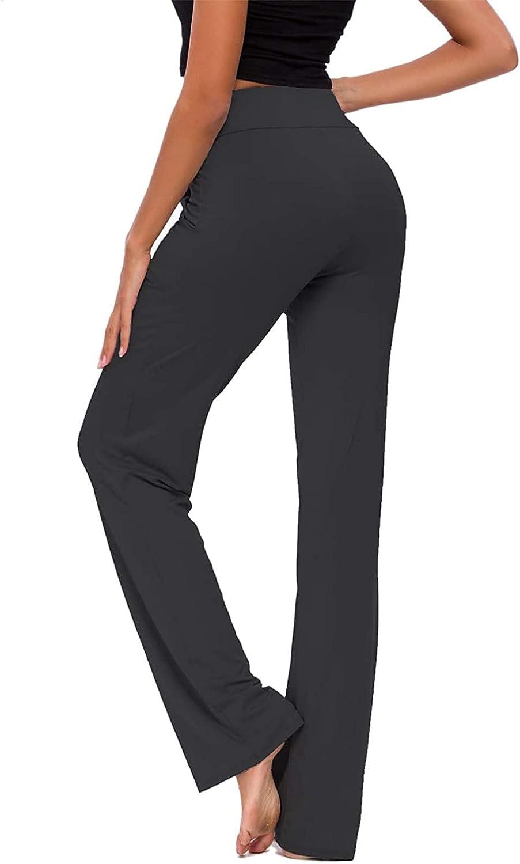 MIVAMIYA Yoga Pants with Pockets for Women Stretch Elastic Waist Workout Sweatpants Wide Leg Palazzo Comfy Pajamas Trousers