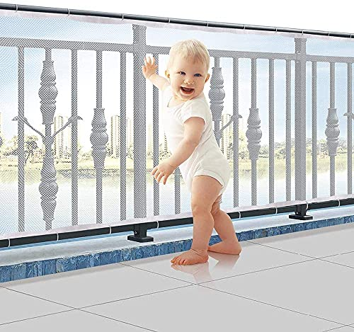 BAICHUN 3 Meter Child Safety Net, Patios And Railing Stairs Netting,Balcony Protection Device, Children/pet/Toy Safety Fence, Strong Mesh Fabric Material(Size:200×78cm,Color:White)