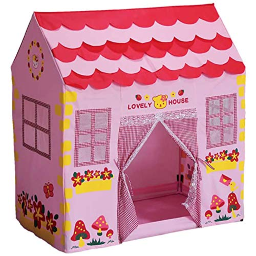 Kids Play Tent Girls Pink Princess Castle Portable Playhouse Outdoor Play Children's Party Tents, House Environmental Protection and Safety Puzzle, Children's Play Tent Indoor