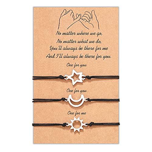 MANVEN Best Friend Bracelets for 3 Friendship Pinky Promise Distance Bracelet Best Friends Women Men Girls