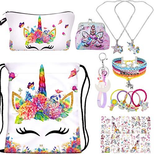 YRUBOHA Unicorn Gifts for Girls , Unicorn Drawstring Backpack with Makeup Bag,Bracelet ,Necklace ,Hair Ties ,Tattoo
