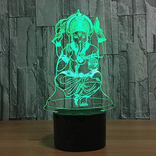 3D Luz nocturna para niños Lámparas de decoración Budismo ideal como regalo de cumpleaños para niños, niños y hombres Con interfaz USB, cambio de color colorido