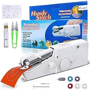 Charminer-Mini portátil máquina de coser, mini máquina de coser eléctrica de mano máquina de coser rápida y manejable adecuada para ropa de tela, cortinas, DIY hogar y uso de viaje