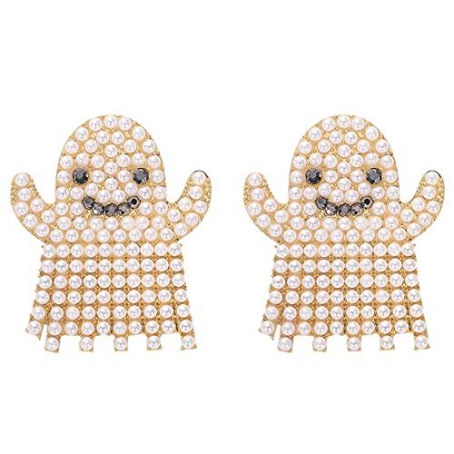 Pendientes de Fantasma de Halloween Pendientes de Fantasma de Diamantes de imitación de aleación de Dibujos Animados Bonitos Pendientes de Pendiente para Mujeres y niñas