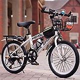 ZJDU Bicicleta De Montaña Freno De Disco Velocidad Variable Bicicleta Infantil,Bicicletas para Niños,Frenos Delanteros Y Traseros,Marco De Acero De Alto Carbono,Blanco,24 Inches
