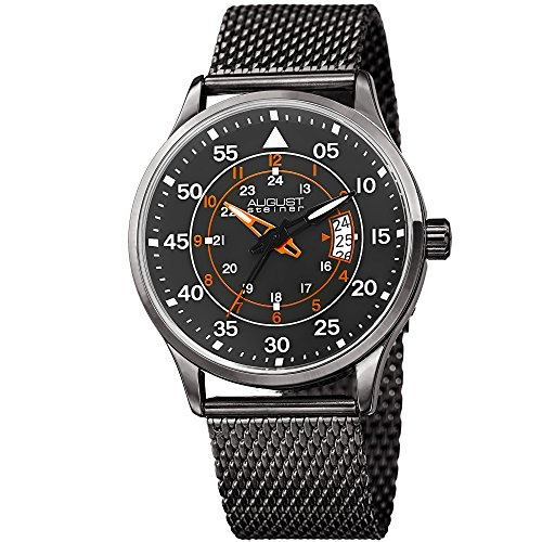 August Steiner Men's Colored Accented Dial - Sporty Dial Multiple with Tracks and 3 Day Date Window...