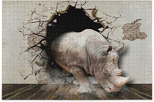 Jigsaw puzzle for 3D Rhino Puzzles for Adults 500 Piece Wooden Jigsaw Puzzles Educational Intellectual Decompressing Funny Game for Adults and Kids-500pieces