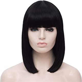 TopWigy Women Bob Wig Short Straight Wigs Synthetic Halloween Cosplay Party Bangs Wigs Natural Looking 14 Inch, Black