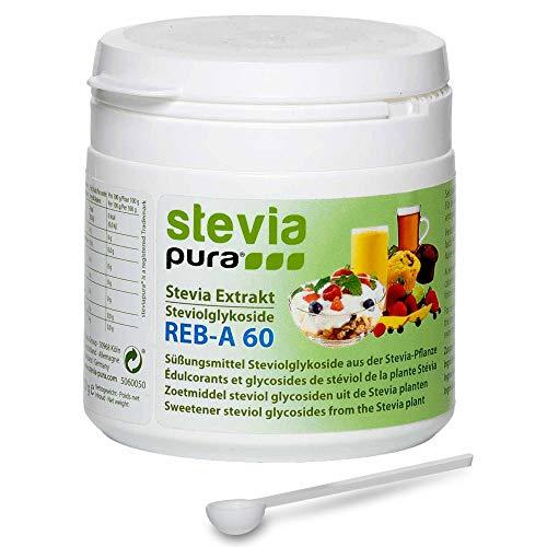 stevia-pura | Reines, hochkonzentriertes Stevia Extrakt Pulver (Steviosid) 50g | Tafelsüße auf Basis von Steviolglycosiden aus der Stevia Pflanze (Stevia rebaudiana) und Rebaudiosid-A 60