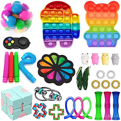 Fidget Toys Pack, Fidget Toy Sets Fidget Pack Barato, Simple Dimple Fidget, Push Bubble Fidget Juguete Sensorial Para Niños (I-2)