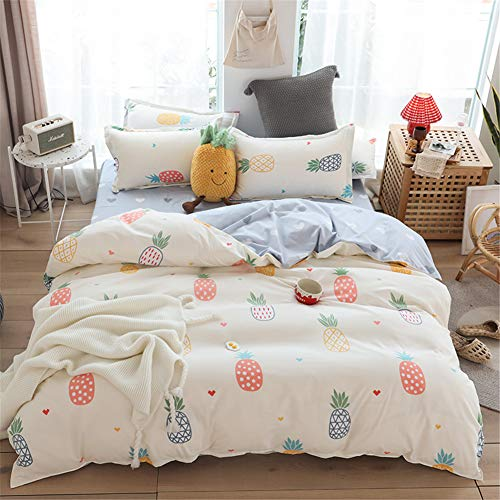 Meiju Beddengoedset 3-delig, fruitbedrukt dekbedovertrek en 2 kussenslopen microvezel polyester print ademend…
