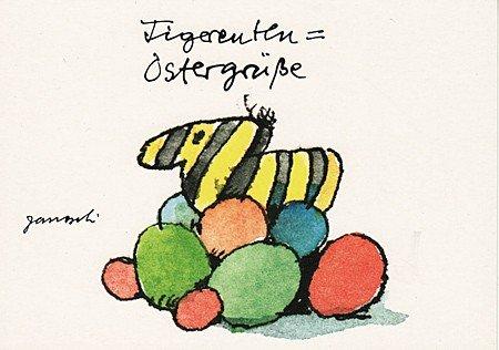 Janosch Postkarte Tigerenten Ostergrüße