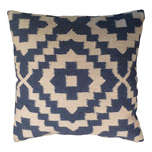 Fair Trade Kelim-Kissenbezüge, handgefertigt auf Handwebstühlen mit 80/20 Wolle/Baumwolle und natürlichen Farbstoffen, Indigoblau Samarkand (45 x 45)
